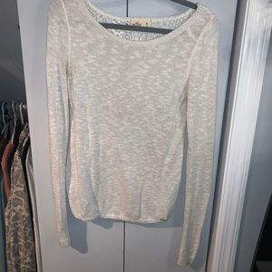 Hollister Long Sleeve White Sweater with Lace Back